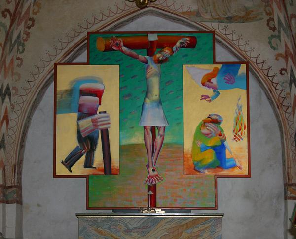Kristen kunst  Dalbyneder kirke altertavle Arne Haugen Soerensen 1993  wiki