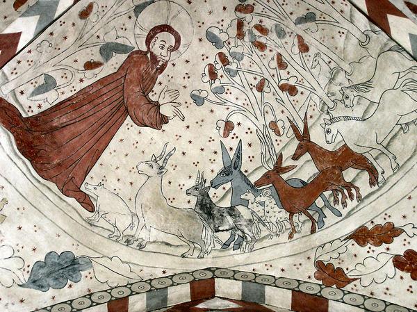 Bibelen  myter  skabelsesmyterne  1024px Vittskoevle fresco Gud skaber dyrene  Wiki