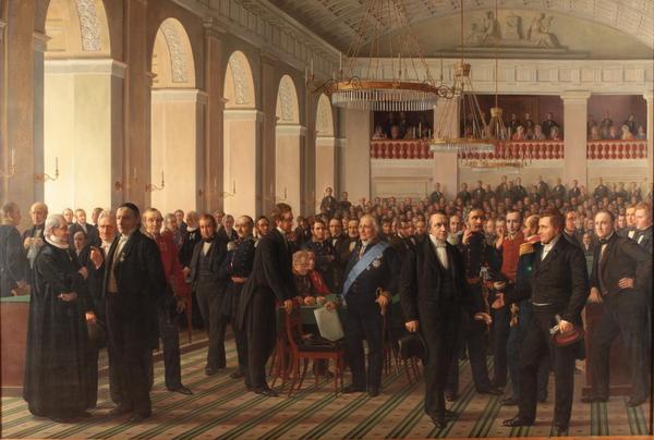 Grundloven  Den grundlovsgivende forsamling  Det Nationalhistoriske Museum Frederiksborg Slot